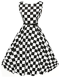 cheap -Women's Vintage Check A Line / Skater Dress,Round Neck Knee-length Polyester