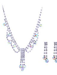 preiswerte -Damen Kubikzirkonia Schmuck-Set - Sterling Silber, Zirkon, Diamantimitate Einschließen Halskette / Ohrringe Verschiedene Farben Für Hochzeit Party / Halsketten