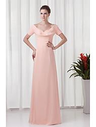 Gaine / colonne v-cou longueur au sol chiffon robe de soirée formelle avec ruching