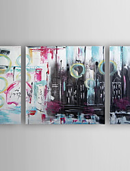 cheap -Oil Painting Modern Abstract  Set of 3 Hand Painted Canvas with Stretched Framed
