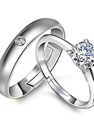 2pcs Sterling Silver Ring CZ Couple Rings Adjustable Fashion Jewelry for Couple Wedding Engagement Ring