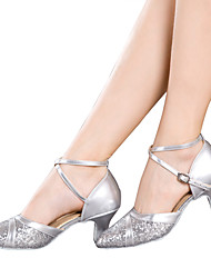 cheap -Women's Dance Shoes Latin Patent Leather / Sparkling Glitter / Paillette / Synthetic Cuban HeelBlack / Red / Silver /