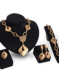 cheap -Women's Cubic Zirconia 18K Gold Jewelry Set Bracelet Earrings Necklace Ring - Vintage Cute Party Work Casual Statement Fashion Link /
