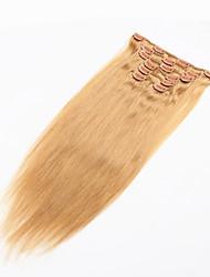 billiga -Klämma in Människohår förlängningar Rak Äkta hår Brasilianskt hår Blekt Blont Vinröd Tippad Svart / Gery