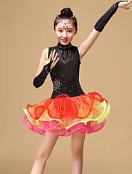baratos -Dança Latina Vestidos Crianças Espetáculo Tule Pregueado Vestido Luvas