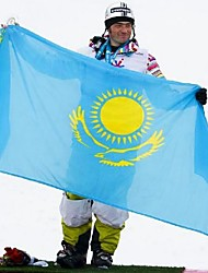 novo 90 * 150 centímetros pendurado Cazaquistão nacional bandeira da bandeira ao ar livre casa decoração interior (sem haste)