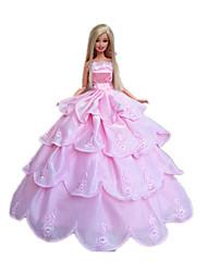 tanie Ubranka dla lalek Barbie-Ślub Sukienki Dla Lalka Barbie Poliester Ubierać Dla Dziewczyny Lalka Zabawka