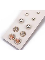 preiswerte -Damen Kristall Schmuckset Ohrstecker Ohrringe Set - Perle, Krystall, Künstliche Perle Modisch, nette Art Weiß Für Hochzeit Party Alltag