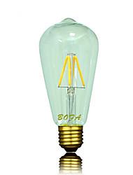 Недорогие -1шт 3 W 200-300 lm E26 / E27 LED лампы накаливания ST64 4 Светодиодные бусины COB Диммируемая / Декоративная Тёплый белый 220-240 V / 110-130 V / 1 шт. / RoHs