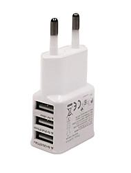 Ficha EU Carregador USB do telefone Portas Multiplas cm Tomadas 3 Portas USB AC 100V-240V