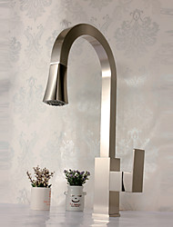 cheap -Deck Mounted Single Handle One Hole Brass with Nickel Brushed Kitchen Faucet Pullout Spray Sink Mixer Water Tap