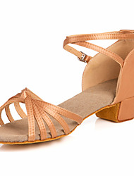 "cheap -Women's Kids' Latin Ballroom Satin Sandal Low Heel Nude Bronze 1"" - 1 3/4"" Non Customizable"