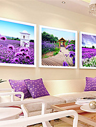 cheap -3PCS DIY 5D Diamonds Embroidery Three Lavender Landscape CUBE Painting Cross Stitch Kits Diamond Mosaic 132*45CM