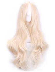 70 Cm Harajuku Cosplay Wigs Women Sexy Long Wavy Curly Synthetic Hair European American Style Beige Blonde Wig