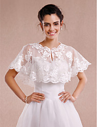 cheap -Sleeveless Lace Wedding Party Evening Wedding  Wraps With Appliques Lace Shrugs
