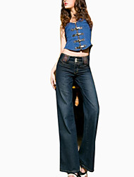 Women's Wide Leg Casual/Plus Sizes Denim Pant