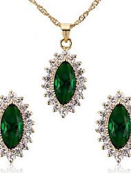 abordables -Mujer Circonita Zirconio Zirconia Cúbica Conjunto de joyas Pendientes Collare - Vintage Bonito Fiesta Casual Óvalo Verde Azul Juego de