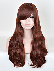 Capless Long Curly Brown Synthetic Wigs Side Bang