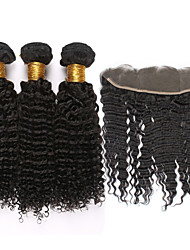 "cheap -4pcs/lot Mongolian Kinky Curly Virgin Hair With Frontal Closure 13""*4""Ear To Ear Lace Frontal Closure With Bundles"