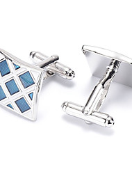 Men's Fashion Blue Grid Silver Alloy French Shirt Cufflinks (1-Pair) Christmas Gifts