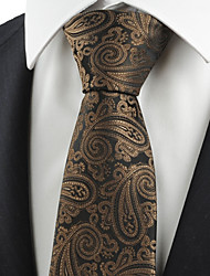 KissTies Men's Brown Paisley Black Necktie Formal Business/Wedding/Party/Work/Casual Tie With Gift Box