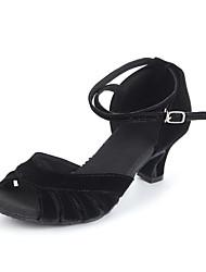 "Women's Latin Ballroom Suede Leatherette Heel Beginner Professional Indoor Performance Buckle Cuban Heel Black Blue 2"" - 2 3/4"" Non"
