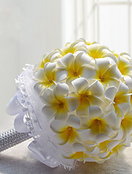 cheap -Plumeria Rubra Artificial Silk Lily Bridal Wedding Bouquet Bridesmaids Yellow Ball Bouquets