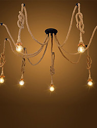 cheap -8 Heads American Country Retro Industrial Hemp Rope Chandelier Living Room Restaurant pendant lights light Fixture