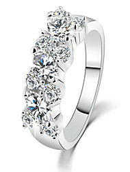 cheap -Simple Trend Irregular Crystal Silver Plated Zircon Hypoallergenic Rings