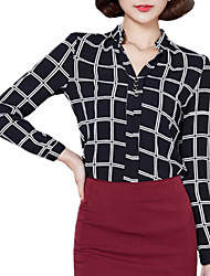 Summer Plus Size Women's Plaid Long Sleeve Slim Chiffon Blouse Fashion Stand Collar Shirt Tops