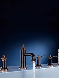 Antique Diffusion large Avec spray démontable Soupape céramique 5 trous Trois poignées cinq trous Or rose , Robinet de baignoire