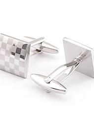 Men's Fashion Square Silver Alloy French Shirt Cufflinks (1-Pair) Christmas Gifts