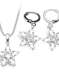 Star Jewelry Set New Platinum/18K Gold Plated Crystal Star Pendant Earrings/Necklace For Women Retro Jewelry S20100