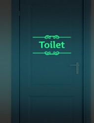 cheap -Hot  Diy Glowing Night Lighting Luminous Fluorescent Bathroom Door Wall Sticker Toilet Wall Sticker Bath Decoration