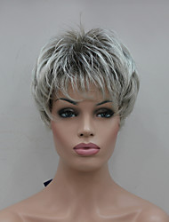 New Light Gray Tip With Brown Mix Short Straight Women's Synthetic Wigs