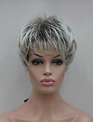 economico -nuova punta grigio chiaro con la parrucca sintetica brevi donne diritte marrone mix