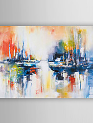 cheap -Hand Painted Oil Painting Landscape Abstract Ship at Sea with Stretched Frame 7 Wall Arts®