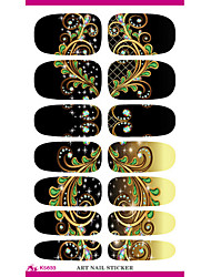 cheap -Water Transfer Nail Foil Sticker Black Dream Peacock Feathers Nail Wraps Sticker Elegant
