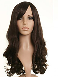 New Long Brown Yellow Wavy Hair Synthetic Wigs