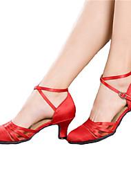 economico -Non personalizzabile Da donna Danza moderna Liscio Raso Tacco alto Strass Tacco cubano Nero Rosso 5 - 6,8 cm