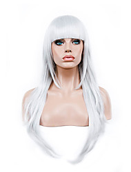 cheap -70 Cm Harajuku Anime Colorful Cosplay Wigs Young Long Curly Synthetic Hair Wig White Synthetic Wig
