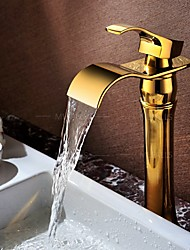 cheap -Waterfall Basin Faucet Golden Finish Vessel Sink Tap Hot&Cold Mixer Faucet Luxury