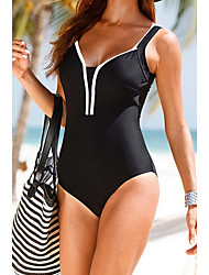 cheap -Women's Solid Solid Halter One-piece Swimwear,Bamboo Carbon Fiber Black