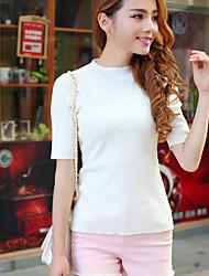 preiswerte -Damen Standard Pullover-Lässig/Alltäglich Street Schick Solide Rundhalsausschnitt Kurzarm Baumwolle Frühling Dünn Mikro-elastisch