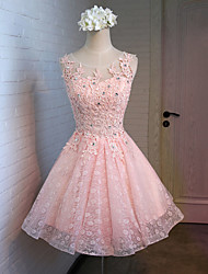 cheap -A-Line Princess Illusion Neckline Knee Length Lace Satin Tulle Cocktail Party Homecoming Prom Dress with Lace Ruffles Sequins by Yaying
