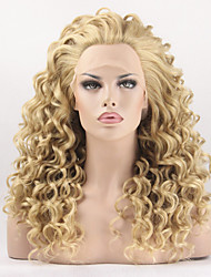Fashion Synthetic Wigs Lace Front Wig 24inch Curly Yellow Heat Resistant Hair Wig Women