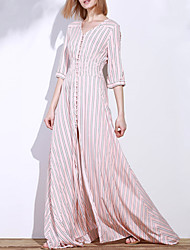 cheap -Women's Street chic Swing Dress - Striped, Split High Rise Maxi V Neck