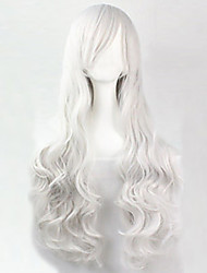 The new European and American high-temperature  Wire White Long Hair Wig80CM