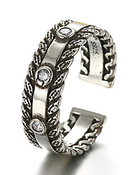cheap -Antique Silver Vintage Stype Open Band Midi Ring for Men/Women