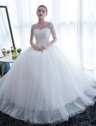 cheap -Ball Gown Scoop Neck Floor Length Tulle Wedding Dress with Lace by Embroidered bridal